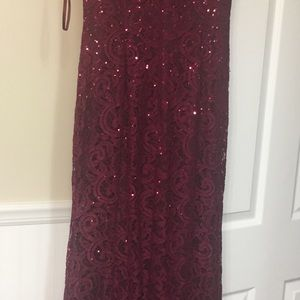 Floor length Burgundy Dress with sequins